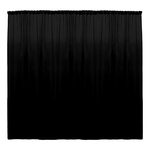 Ultimate Textile -5 Panels- Polyester Backdrop Drape 72 x 96-inch - for Pipe & Drape, Wedding, Tradeshow, Decorating or Window Curtain use, Black