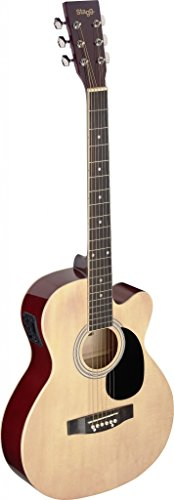 Stagg SA20ACE NAT Auditorium Cutaway Acoustic-Electric Guitar - Natural