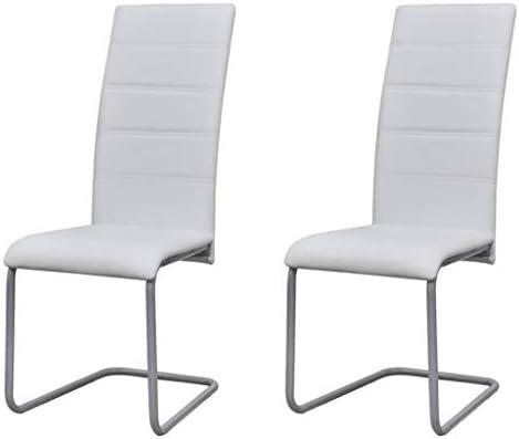 binzhoueushopping Lot de 2 chaises de Bureau pour Salle à Manger D&S Vertriebs GmbH Chaise de Cuisine Blanc