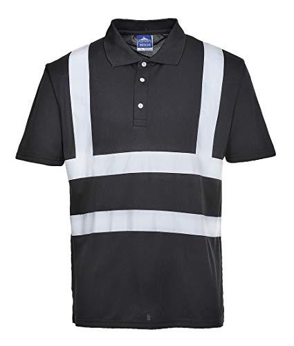 Portwest Iona Polo Shirt Hi Vis Visibility Reflective Short Sleeve Work Wear Top, Black, X Large