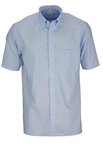 OLYMP Luxor Hemd Halbarm mit Button Down Kragen, Comfort Fit, size 42/L, color Hellblau