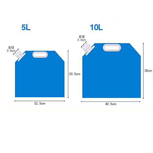 GULUDED Water Carrier Collapsible Water Bag 5L 10L Folding Water Containers Tank Storage for Camping Hiking Picnic BBQ Foldable Blue & Transparent
