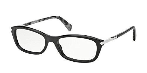 Prada PR04PV Eyeglass Frames 1AB1O1-52 - Black - Prada Black Eyeglasses Frame