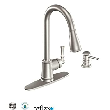 moen ca87020srs kitchen faucet with pullout spray from the lancaster collection spot resist stainless - Moen Kitchen Sink Faucet