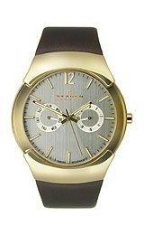Skagen Watch Multifunction - Skagen Men's Brown Leather Multifunction Watch 583Xlgld