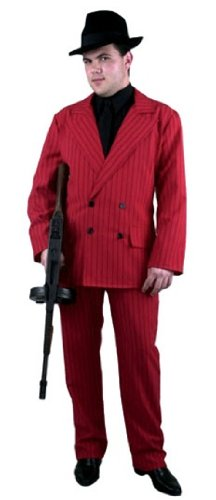 Men's Red and Black Gangster Suit Costume - MEDIUM