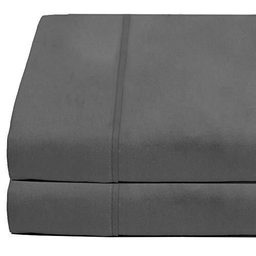 Flat Top Sheet Premium 1800 Ultra-Soft Microfiber Collection - Double Brushed, Hypoallergenic, Wrinkle Resistant, Easy Care (Twin XL - 2 Pack, Grey)