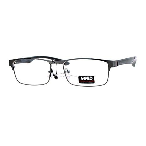 SA106 Nerd Narrow Rectangular Metal Rim Nerdy Eyeglasses - Glasses Nerdy Guy