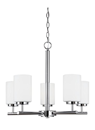 Sea Gull Lighting 31161EN3-05 Oslo Five-Light Chandelier with Cased Opal Etched Glass Shades, Chrome Finish