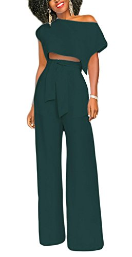 VLUNT Women's 2 Pieces Jumpsuits Outfit Crop Top Wide Leg Pants with Belt,Dark green-2XL