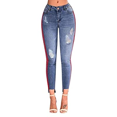 iTLOTL Women Denim High-Waist Ripped Stretchy Hole Pencil Pants Jeans Trousers