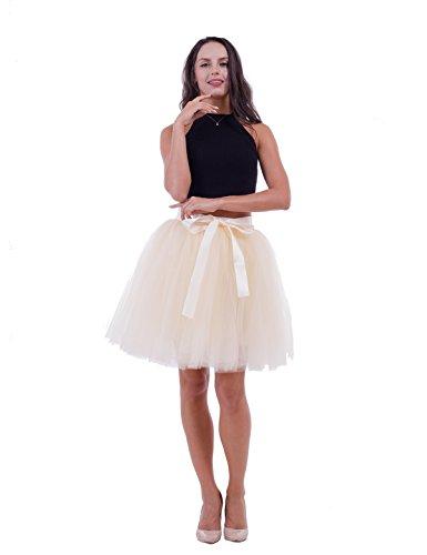 Tulle Mini Petticoat Skirt (7 Layers Dance Tutu Tulle Skirts Women's Above Knee Mini High Waist Petticoat)