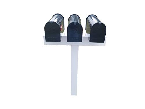 Triple Mailbox Post - Handy Post for 3 S,M Mailboxes, 42-in x 31-in, White, Vinyl Sleeve