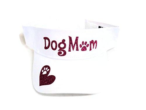 Fuchsia Glitter Dog Mom Paw Print White Sun Visor Cap Hat Pet (Dog Print Visor)