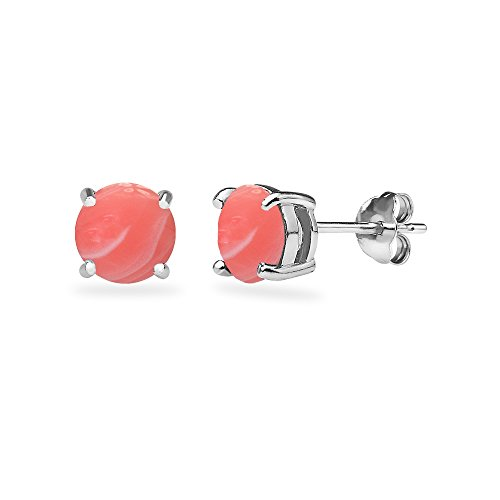Sterling Silver Simulated Coral Round 6mm Prong-set Stud Earrings