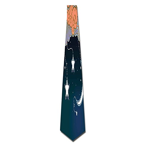 - WuLion Cartoon Style Night Sky With Swirled Clouds Stars And Moon Dotted Lines Men's Classic Silk Wide Tie Necktie (8 CM)