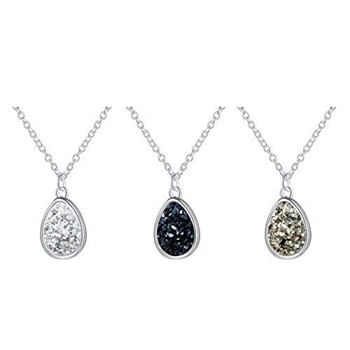 - MissNity Chic Simulated Druzy Stone Pendant Necklace Silver Black White Gray Teardrop Jewelry Set for Women Girls (C1-Black/White/Gray)