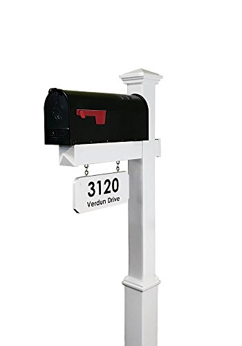 4EVER The Saybrook Vinyl Mailbox Post System - Includes Black Steel Mailbox and Custom Street Address