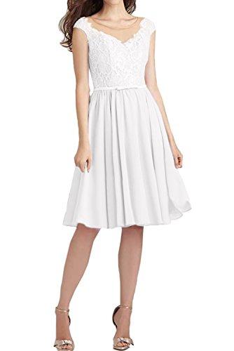 Ballkleid Brautjungfernkleider Spitze Weiß Ivydressing Kurz Abendkleider Damen Festlich BqgYgXt