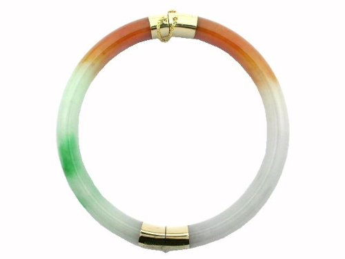 Multi-Colored Jade Two Section Bangle, 14k Gold