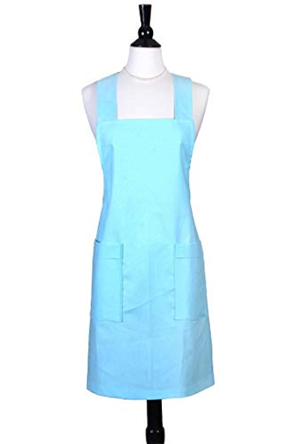 - Japanese Crossback Apron - Aqua Blue Linen Blend -Womens Retro Crossover Pinafore - Vintage Style Kitchen Apron - Two Large Pockets - Personalized Options