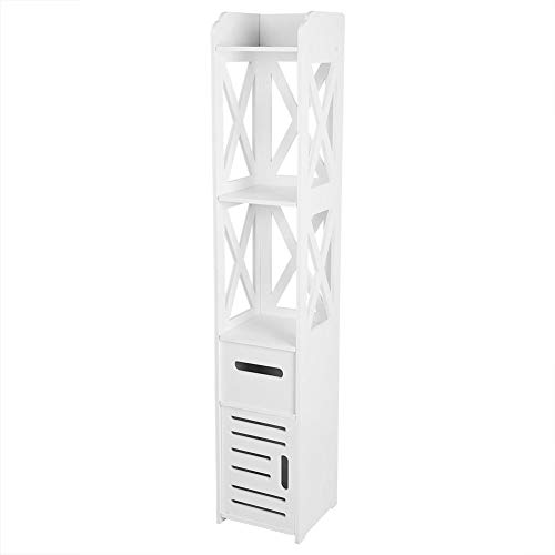 Estink- Bathroom Cabinet, 2X White Wooden Bathroom Cabinet Shelf Cupboard Bathroom Storage Rack