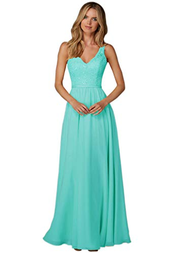 Zhongde Women's Lace Bodice V-Neck Floor Length Chiffon Evening Dress Long Formal Gown for Wedding Turquoise Size 14