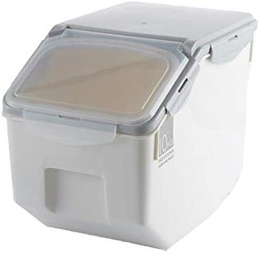 米びつ 保存容器 ホイール用キッチン併用10-15KGライス保存容器気密食品容器封印された穀物穀物オーガナイザー 米粉シリアルキッチン収納用 (Color : White, Size : Big)