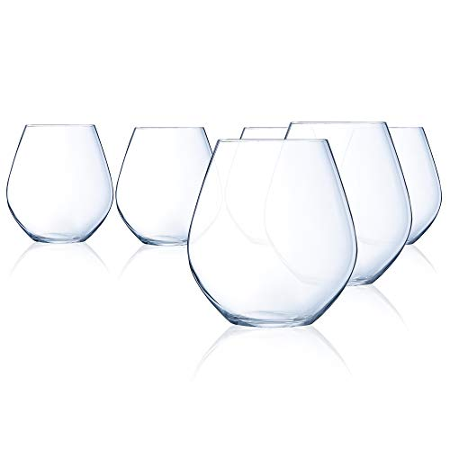 Chef & Sommelier N0297 Domaine 19.5 Ounce Stemless Red Wine Glass, Set of 6, 19.5 oz, - Wine Rim Sheer Red Glass