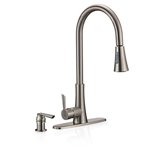 Collection Deck Mount Kitchen Faucet (FREUER Bella Di Fresco Collection: Pull Out Spray Kitchen Sink Faucet, Brushed Nickel)