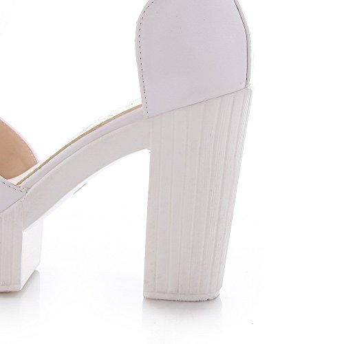 Amoonyfashion Delle Donne Pu Solid Hook And Loop Open Toe Sandali Tacchi Alti Bianco