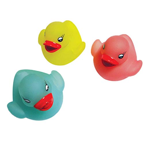 (Fornateu 4 Pcs/set Rubber Flashing Light Duck Bath Toy Auto Color Changing Baby Bathroom Toys)
