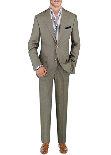 DTI BB Signature Italian Men's Linen Suit Modern Fit 2 Button Jacket Plain Pant (38 Short US / 48S EU/W 32