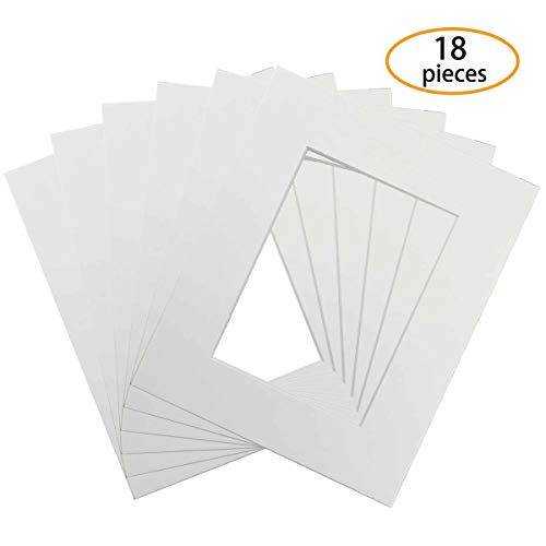 (Hapy Shop Pack of 18 White Picture Mat 5x7 with Core Bevel Cut Frame Mattes for 4x6 Pictures )