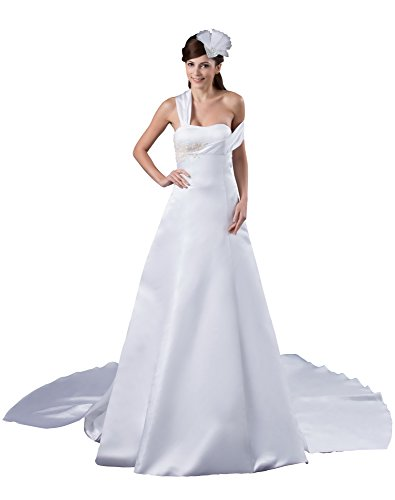 Vogue007 Womens One Shoulder Taffeta Satin Pongee Wedding Dress, ColorCards, 16 by Unknown