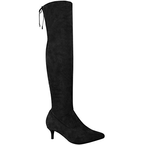 Fashion Thirsty Womens Low Heel Thigh Knee High Boots Pointed Stretch Shoes Size 6