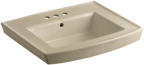 (KOHLER K-2358-4-33 Archer Pedestal Bathroom Sink Basin with 4-Inch Centers, Mexican)