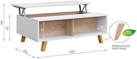 COMIFORT Mesa Centro Elevable - Mesa Salón Multifuncional con Gran ...