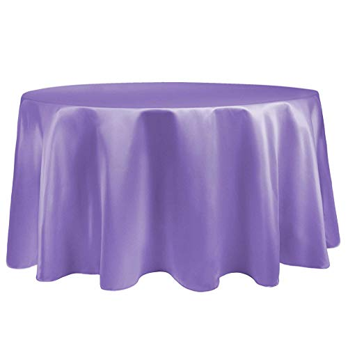 (Ultimate Textile -10 Pack- Bridal Satin 72-Inch Round Tablecloth, Violet Purple)