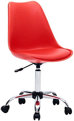 Porthos Home Adjustable Height Cushioned Seat Office Desk Chair with Chrome Base and Caster Wheels, Easy Assembly, One Size