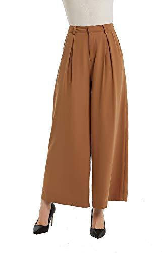 Tronjori Women High Waist Casual Wide Leg Long Palazzo Pants Trousers(L, Brown Sugar) ()