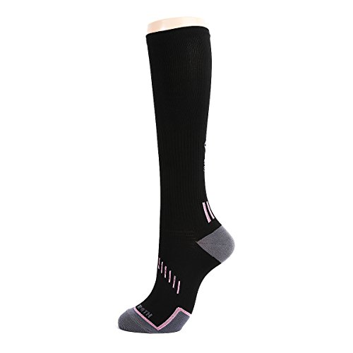 Sooty Smith Knee High Compression Cycling Lycra Easy Cool Biker Socks Women (S = Size 9.5 (US Men Shoes 6-8.5 = Women 7-9.5), Black 1pair S)