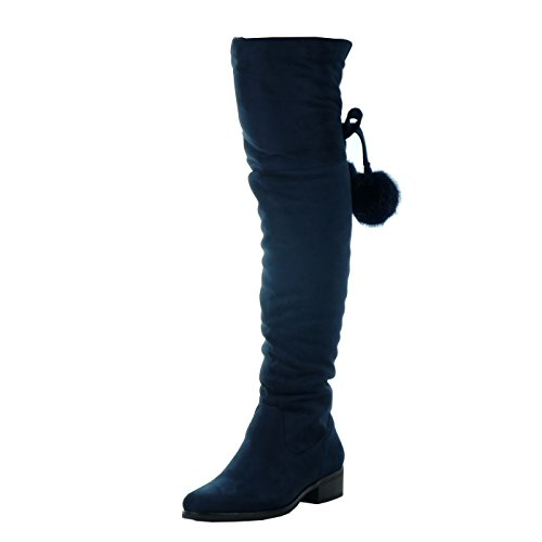 Angkorly - Zapatillas de Moda Botas Altas cavalier flexible mujer pompom Talón Tacón ancho alto 3.5 CM - plantilla Forrada de Piel Azul