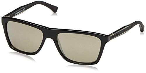 Emporio Armani EA4001 Sunglasses 50175A-56 - Black Frame, Light Brown Mirror Dark Gold