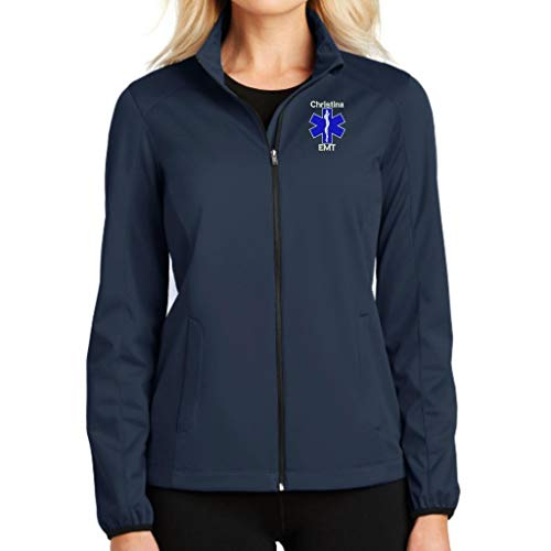 Why Not Stop N Shop Personalized EMT, Paramedic, EMS Full Zip Jacket with Pockets (X-Large, Dress Blue Navy)