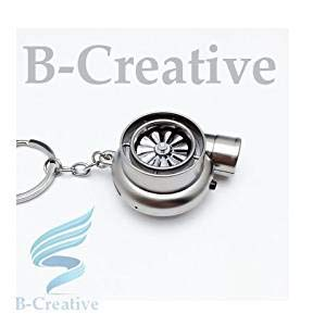 Be-Creative UK Premium Quality LED Turbo Supercharger Honda, Civic Turbine Rechargeable USB Electronic Cigarette Lighter Keyring KeyChain 2017 (Matte Silver): Toys & Games