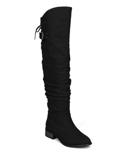 Nature Breeze Olympia-01 Leatherette Slouchy Lace Back Thigh High Boot AC96 - Black (Size: 10)