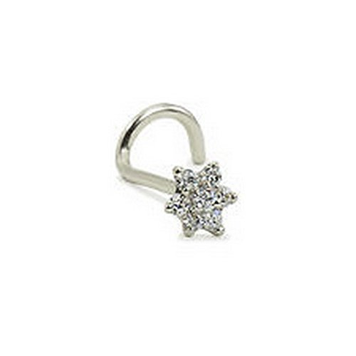 YD Jewelry - 14KT Solid White Gold Nose Screw Ring Stud 4.5mm Christina Flower Gauge 18G (Ring Nose Christina)