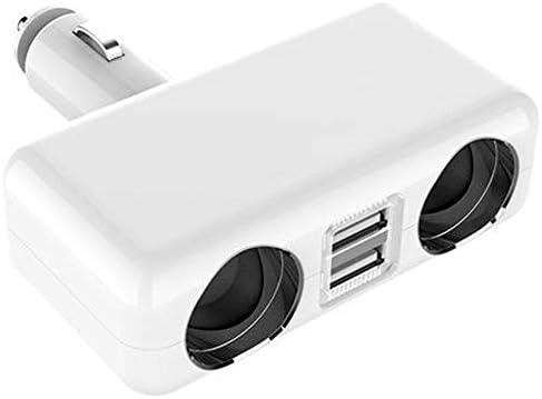 車の充電器 車の充電器デュアルポートUSB電話車の充電器の互換性スマートフォン 安全安心の車載充電器 (Color : White, Size : As shown)