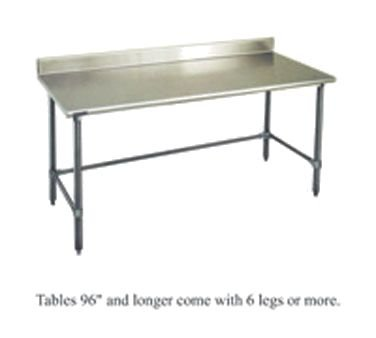 (Deluxe Work Table, 24W X 120L, 16 Ga Type 304 S/S Top W/4-1/2 Backsplash, Rolled Front Edge, Sq.)